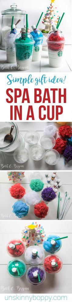Essential oil Christmas gift idea- Starbucks cup, epsom salt and shower poof!