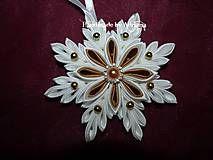 Vianoce - Bielo-zlatá snehová vločka na stromček. )) - 4694824_