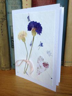 Handmade Pressed Flower Valentine's Day Card ,White Blue Cornflowers Petal Paper £5.00