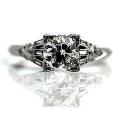 Art Deco Platinum Old European Cut Diamond by ArtDecoDiamonds, $6500.00