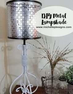 I was in need of a lampshade for my new lamp. Learn how to create a DIY metal lampshade using a sheet of metal and two embroidery hoops! Recycled Lamp, Repurposed, Lampshade Redo, Lampshade Ideas, Lamp Ideas, Décor Antique, Diy Décoration, Metal Homes, Decoration