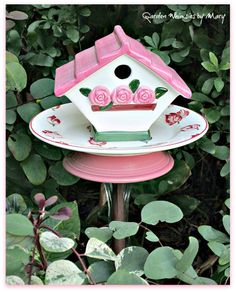 rose bird house garden totem stake by Garden Whimsies by Mary