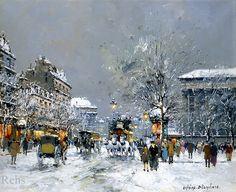 """Antoine Blanchard -   """"Place de la Madeleine"""", Hiver"""
