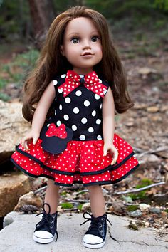 Minnie Mouse Ruffle Dress for 18 DollsFits by MReeseDesigns, $22.95