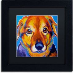 Trademark Fine Art Riley Square Canvas Art by DawgArt, Black Matte, Black Frame, Size: 11 x 11