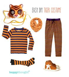 Tiger, tiger! 10 Animal costume ideas - Easy last minute tiger costume with tiger mask #costume #tigermask #happythought happythought.co.uk/craft/animal-costume-ideas