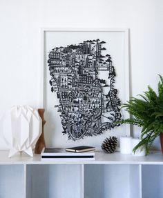 New York City Paper Cut Map