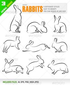 Buy Rabbits by Jackrust on GraphicRiver. Vector set of 9 different rabbits. Ai, eps, psd and high jpeg files included in the zip file. Each rabbit included i. Bunny Tattoos, Rabbit Tattoos, Animal Sketches, Animal Drawings, Animal Illustrations, Drawing Reference, Line Drawing, Running Drawing, Rabbit Jumping