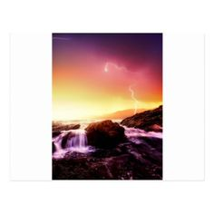 california waterfall and sunset postcard - postcard post card postcards unique diy cyo customize personalize