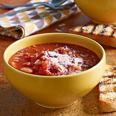 Warm up with Rachael Ray's Bacon, Tomato & White Bean Soup 30-Minute Meal recipe