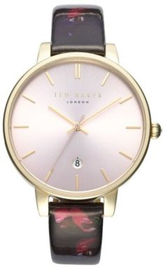 Women's Ted Baker London Kate Print Leather Strap Watch 38Mm #watches #womens