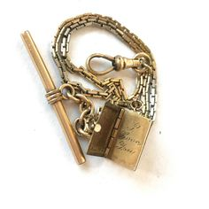 Vintage Victorian Watch Chain Locket Fob I LOVE YOU Gold Filled Book... ($89) ❤ liked on Polyvore featuring jewelry, pendants, pocket watch, antique pocket watch, vintage pocket watches, chain pocket watch and antique victorian jewelry