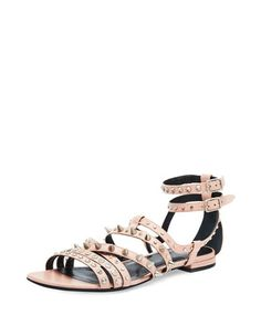 Strappy Studded Flat Sandal, Pale Pink by Saint Laurent at Neiman Marcus.