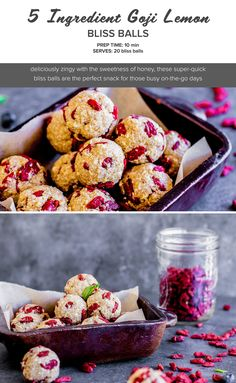 5 ingredient goji lemon bliss ball recipe for a quick and super easy snack. Goji berries are packed with antioxidants so these make a healthy treat.