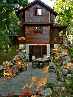 tiny romantic cottage house plan complete with comfortable outdoor seating and a small table this reminds me of the cottages near the school in s