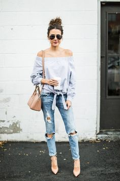 Ripped jeans summer outfit
