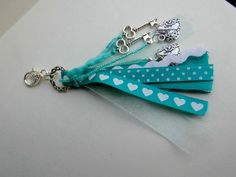 Keychain Purse Tassel green blue turquoise white ribbon silver plated lobster keys hearts tiny pearly beads