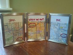 """melodyannesp:    Just made this. It's so cute it's sickening.    Truebluemeandyou: It's sickeningly cute in a good way :) This reminds me of the map wall art I posted from Minimoz: The Love Map """"We Met, We Married, We Live"""" here."""