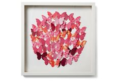 Cut Butterfly Collage Circle, Pink