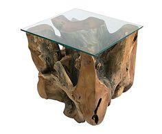 Mesa auxiliar en madera de teca Alvin - natural