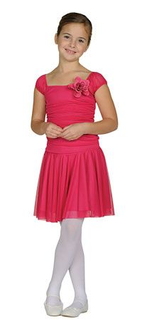 Flower Girl Dresses -   Girls Dress Style 1015- FUCHSIA Cap Sleeve Chiffon Dress with Pin on Flower