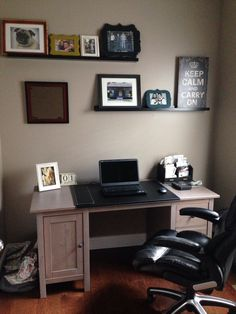 Home office- paint is Perfect Greige by Sherwin Williams, desk and shelves from Ikea.