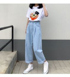 Jeans Women Solid Vintage High Waist Wide Leg Denim Trousers Simple Students All-match Loose Fashion Harajuku Womens Chic Casual Wide Leg Denim, Wide Leg Jeans, High Waist Jeans, High Waisted Baggy Jeans, Wide Leg Trousers, Denim Pants Outfit, Denim Jeans, 80s Jeans, Denim Joggers