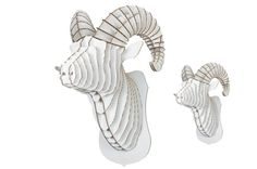 Rocky Jr.  Medium Ram Trophy  White or Brown by CardboardSafari, $30.00
