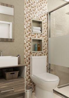 Nicho embutido para banheiro e parede: Bianco Bege marca exclusiva Artens Bathroom Design Small, Bathroom Layout, Bathroom Interior Design, Pantry Design, Home Decor Inspiration, House Design, Brown Bathroom, Shower Ideas Bathroom Tile, Small Apartment Bathrooms