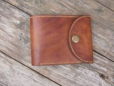 Купить Кожаный кошелек - коричневый, кожаный кошелек, ручная работа, натуральная кожа, полированный