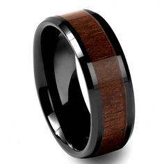 Black Tungsten Carbide Mens Walnut Wood Inlay 8MM Beveled Wedding Band Ring M68 #Band