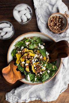 Roasted Acorn Squash Salad with Pecan Vinaigrette and Goat Cheese | Naturally Ella
