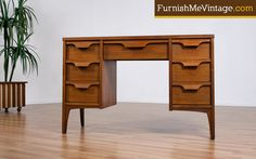 Mid Century Modern Pecan Desk