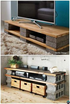 Diy tv stands diy cinder block tv stand console 10 diy concrete block furniture projects home . Cinder Block Furniture, Diy Pallet Furniture, Diy Furniture Projects, Home Projects, Home Furniture, Cinder Blocks, Rustic Furniture, Cinder Block Shelves, Furniture Dolly