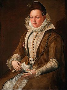 Portrait of a lady with a Lap Dog by Lavinia Fontana. Early in her career, she was most famous for painting upper-class residents of her native Bologna. In addition to portraits (the typical subject matter for women painters), she later created large scale paintings with religious and mythological themes. (Wikipedia)