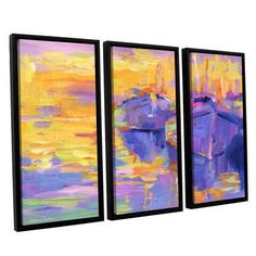 ArtWall Boats Impressionism Harbor Colorful by Svetlana Novikova 3 Piece Framed Painting Print on Canvas Set