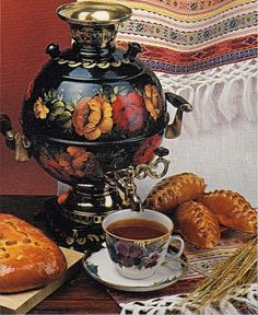 Russian tea drinking  - Old Samovar
