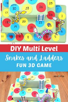 You can make your own multi level snacks and ladders game using this fun and creative DIY tutorial. Your kids will absolutely love playing this homemade version of the popular board game, a great indoor activity to keep the kids entertained! #boardgames #funforkids #fungameforkids #indooractivityforkids #indoorfunforkids