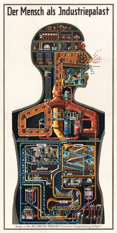 In his educational books on health and anatomy, german physician Fritz Kahn repeatedly drew on the old analogy of human body and machines. This poster from 1926 visualises human metabolism as a process of industrial production.  Credit: Fritz Kahn. Stuttgart 1926 © von Debschitz    www.guardian.co.uk/news/datablog/2012/mar/16/infographics-data-visualisation-history?CMP=SOCNETIMG8759I