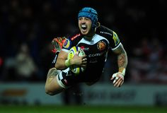 Jack Nowell of Exeter Chiefs dives over for his side's first try during the Aviva Premiership match between Exeter Chiefs and Gloucester Rugby at Sandy Park on January 3, 2015 in Exeter, England. (January 2, 2015 - Source: Dan Mullan/Getty Images Europe)