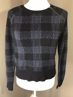 906ae708be7a NWT Banana Republic Sweater womens XS Blue Plaid Pullover Zip detail Long  sleeve
