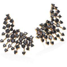 Hueb Luminus Black Diamond & 18K Yellow Gold Ear Cuffs ($3,470) ❤ liked on Polyvore featuring jewelry, earrings, apparel & accessories, gold ear cuff, black diamond earrings, earring ear cuff, post earrings and gold jewelry