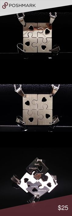 "❤️ Stainless Steel Best Friends Forever Necklace ❤️ This is a Stainless Steel 4 Pc. Puzzle Pendant set Necklace. The puzzle pieces can be broken up into 4 separate pieces for ""Best Friends"" to wear. They come with military style ball chain necklaces as seen in the last picture posted. A individual Puzzle piece measures: 3/4""L X 1/4""W X 1/16""D. The ball chain measures: 23 1/2""L. Jewelry Necklaces"