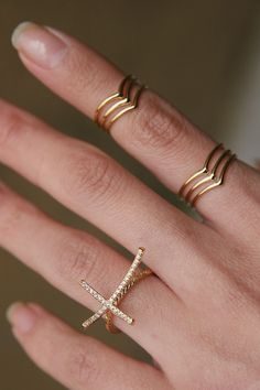 3D Curved Gold Sideways Cross Ring from Kellinsilver.com