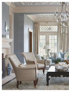Cindy Rinfret - love the color palette, millwork and beautiful ceiling