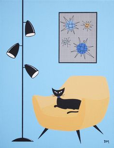 11 X 14 Original Painting Mid Century Modern by donnamibus on Etsy