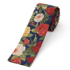 Large rose print cotton tie, crafted in NYC.