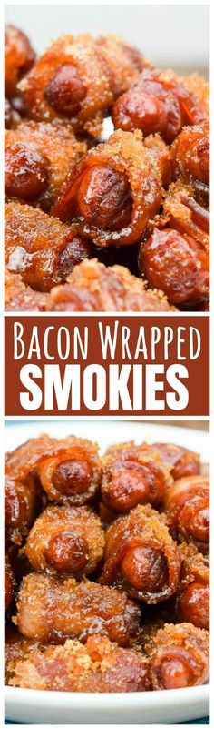 Bacon Wrapped Smokies are the best little bites of sweet, salty and smoky! Easy to make ahead appetizers everyone will love! (Favorite Food Bacon)