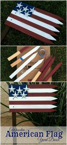 Wooden American Flag; Patriotic Yard Décor. Memorial Day, Flag Day, Independence Day, Summer, Veteran's Day. Red, white and blue pride. TrishSutton.com