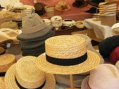 "Caussade - Celebration of the hat industry - called: ""Estivales du Chapeau""  the well known ""canotier"" is no longer for garden or keeping sheep, it is a mark of elegance. - Tarn-et-Garonne dept. - Midi-Pyrénées région, France      ...myfrenchlife.org"